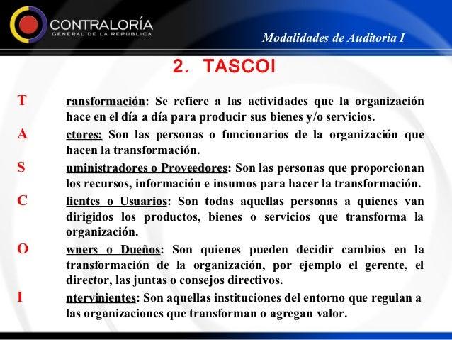 Modalidades de Auditoria I                        2. TASCOIT   ransformación: Se refiere a las actividades que la organiza...