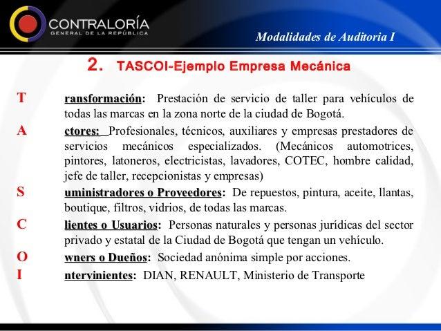 Modalidades de Auditoria I        2.    TASCOI-Ejemplo Empresa MecánicaT   ransformación: Prestación de servicio de taller...