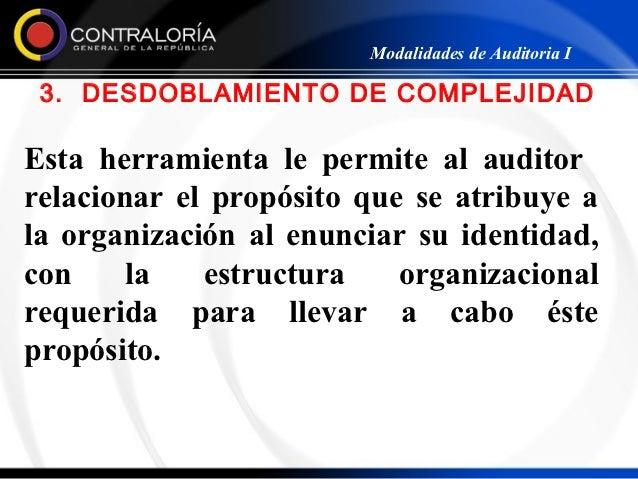 Modalidades de Auditoria I 3. DESDOBLAMIENTO DE COMPLEJIDADEsta herramienta le permite al auditorrelacionar el propósito q...