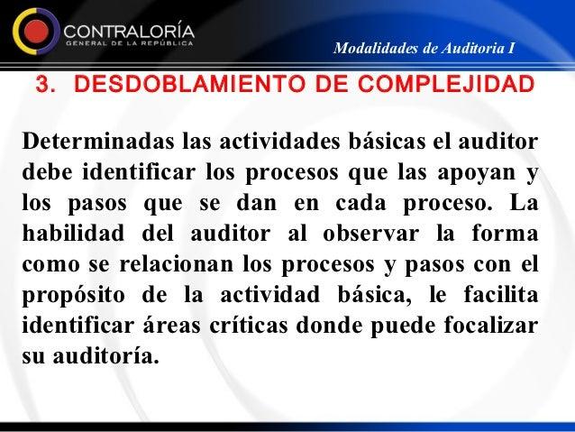 Modalidades de Auditoria I 3. DESDOBLAMIENTO DE COMPLEJIDADDeterminadas las actividades básicas el auditordebe identificar...