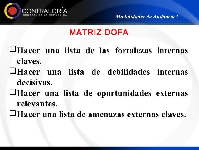 Modalidades de Auditoria I               MATRIZ DOFAHacer una lista de las fortalezas internas claves.Hacer una lista de...
