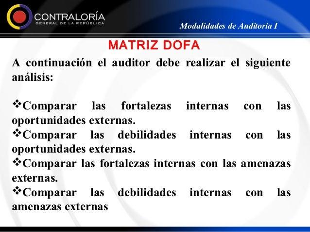 Modalidades de Auditoria I                 MATRIZ DOFAA continuación el auditor debe realizar el siguienteanálisis:Compar...