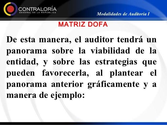 Modalidades de Auditoria I            MATRIZ DOFADe esta manera, el auditor tendrá unpanorama sobre la viabilidad de laent...