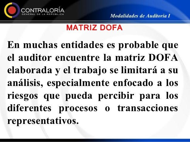 Modalidades de Auditoria I             MATRIZ DOFAEn muchas entidades es probable queel auditor encuentre la matriz DOFAel...