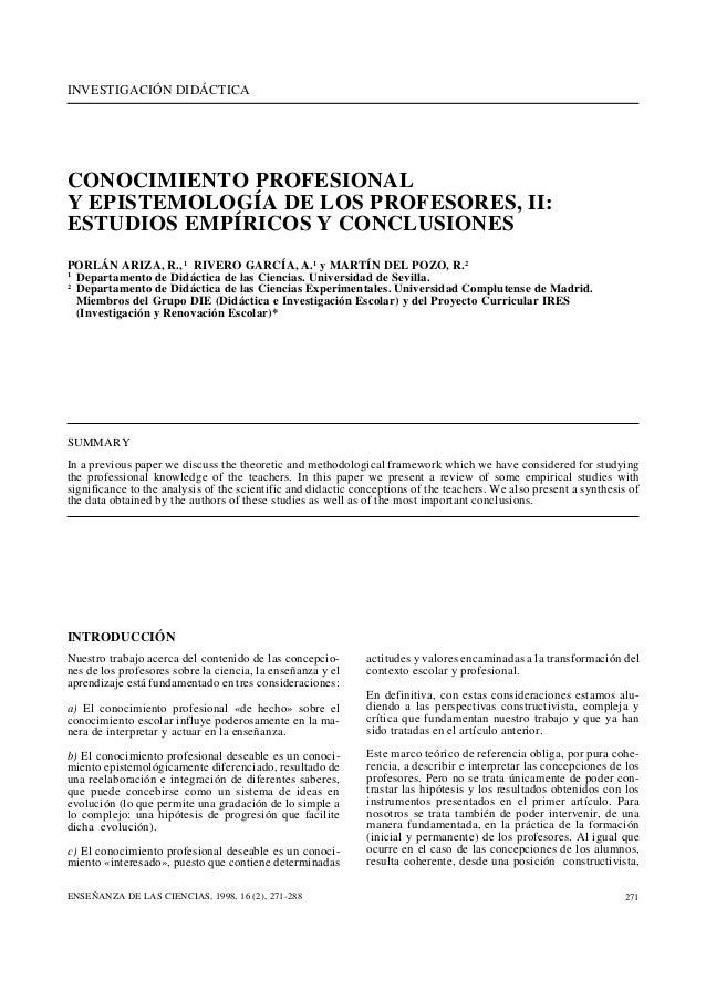 INVESTIGACIÓN DIDÁCTICA  CONOCIMIENTO PROFESIONAL Y EPISTEMOLOGÍA DE LOS PROFESORES, II: ESTUDIOS EMPÍRICOS Y CONCLUSIONES...
