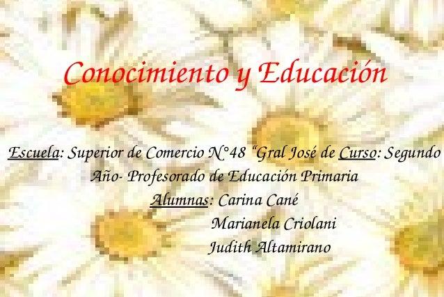 """ConocimientoyEducación Escuela:SuperiordeComercioN°48""""GralJosédeCurso:Segundo AñoProfesoradodeEducaciónPr..."""