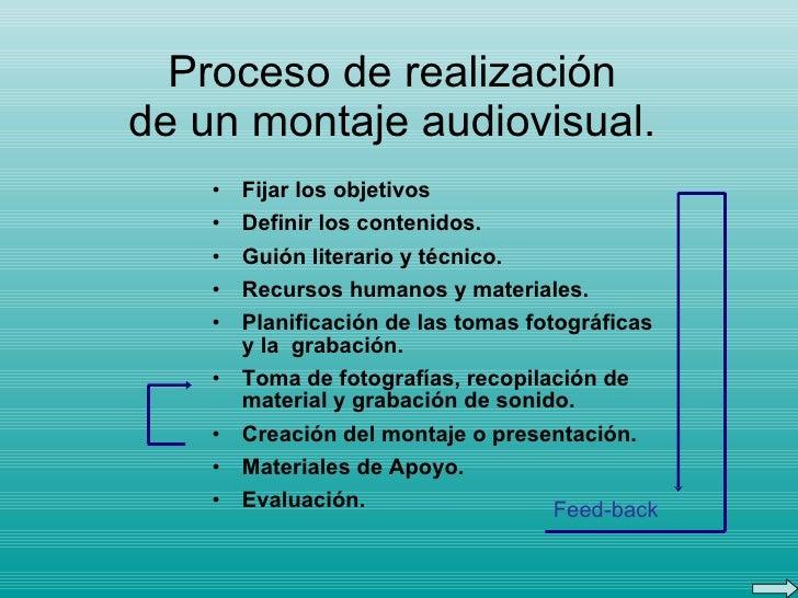 Proceso de realización de un montaje audiovisual. <ul><li>Fijar los objetivos </li></ul><ul><li>Definir los contenidos. </...