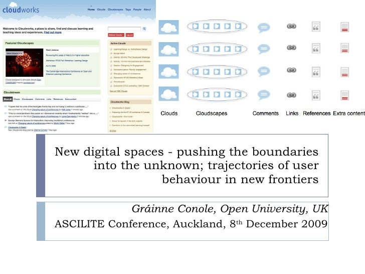 New digital spaces - pushing the boundaries into the unknown; trajectories of user behaviour in new frontiers Gráinne Cono...