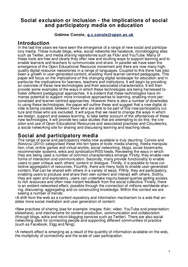 Social exclusion or inclusion - the implications of social            and participatory media on education                ...