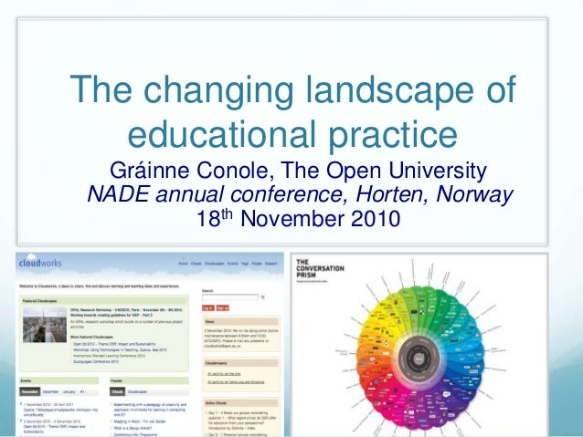The changing landscape of educational practice Gráinne Conole, The Open University NADE annual conference, Horten, Norway ...