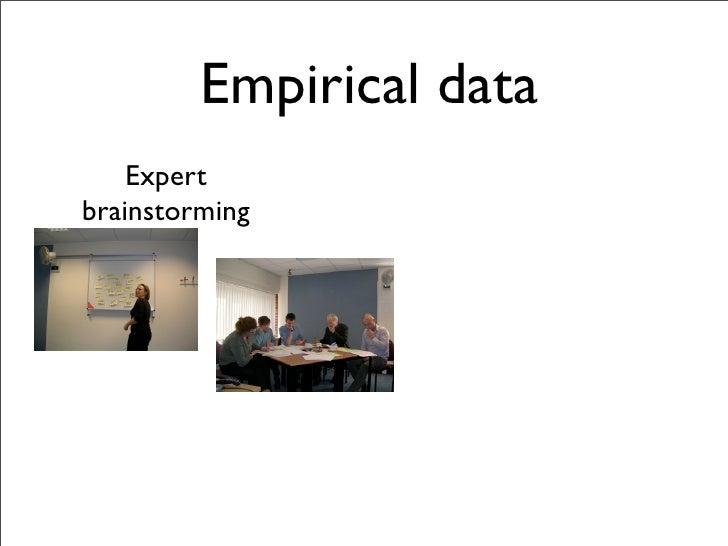 Empirical data     Expert brainstorming