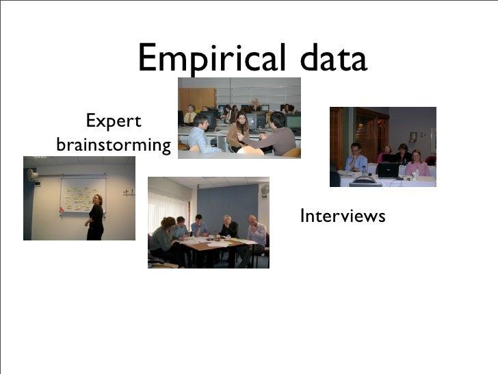Empirical data     Expert brainstorming                     Interviews