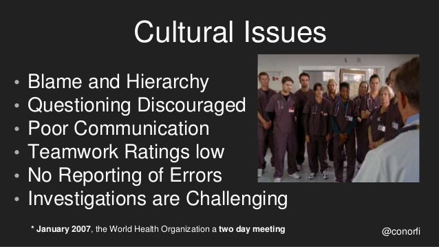 Cultural Issues • Blame and Hierarchy • Questioning Discouraged • Poor Communication • Teamwork Ratings low • No Reporting...