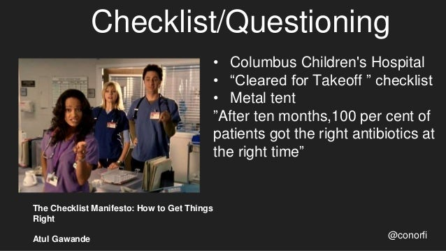 """Checklist/Questioning @conorfi • Columbus Children's Hospital • """"Cleared for Takeoff """" checklist • Metal tent """"After ten m..."""