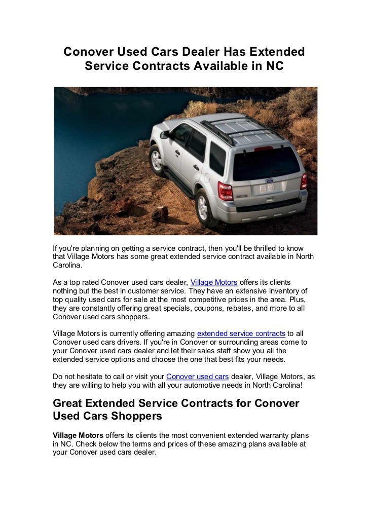 Conover Used Cars Dealer Has Extended Service Contracts Available In