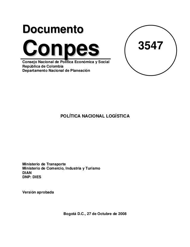 DDooccuummeennttoo CCoonnppeessConsejo Nacional de Política Económica y Social República de Colombia Departamento Nacional...