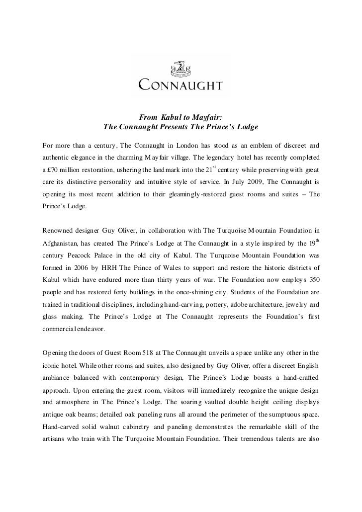 From Kabul to Mayfair:                        The Connaught Presents The Prince's Lodge  For more than a century , The Con...