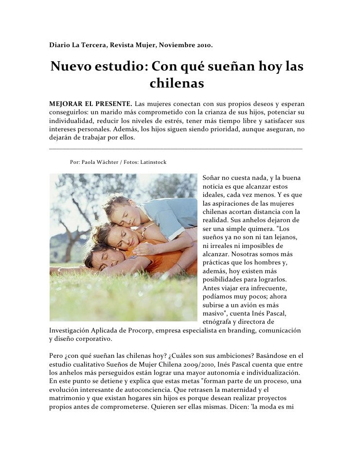Con que sueñan las mujeres chilenas hoy