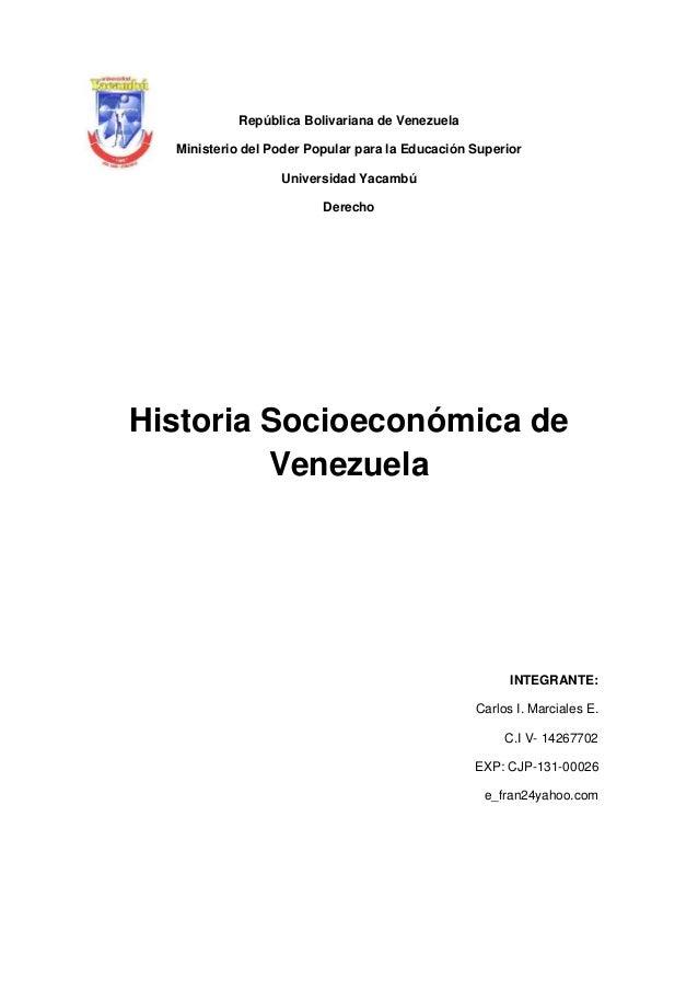 República Bolivariana de Venezuela Ministerio del Poder Popular para la Educación Superior Universidad Yacambú Derecho  Hi...