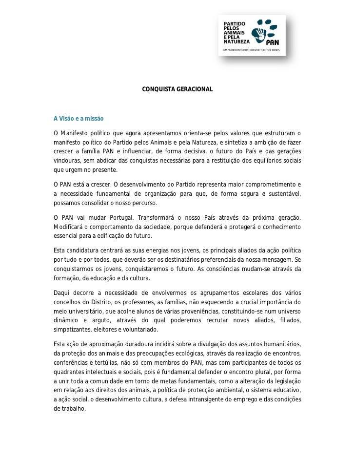 CONQUISTA GERACIONALA Visão e a missãoO Manifesto político que agora apresentamos orienta-se pelos valores que estrutura o...