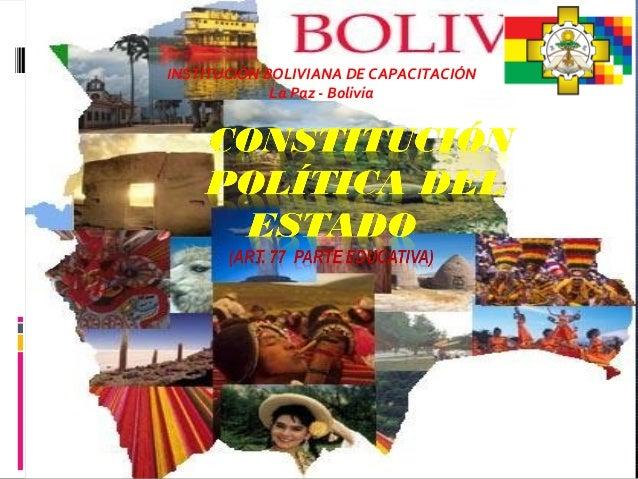 INSTITUCIÓN BOLIVIANA DE CAPACITACIÓN La Paz - Bolivia