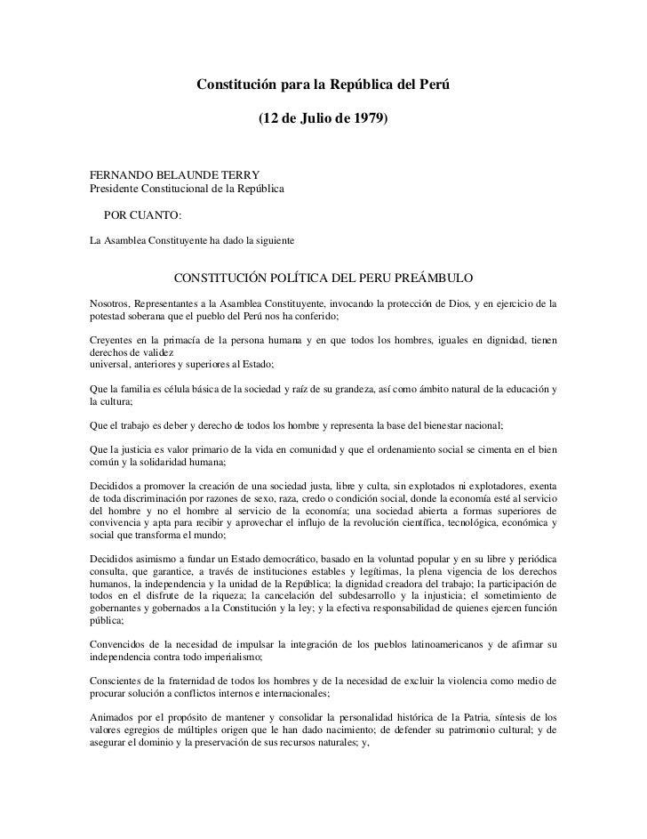 Constitución para la República del Perú                                        (12 de Julio de 1979)FERNANDO BELAUNDE TERR...
