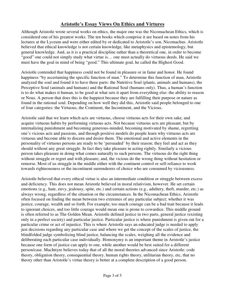 conscience and self reliance page 2 of 5 3 aristotle s essay