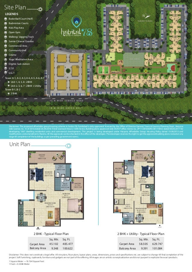 Unit Plan 58.505Carpet Area Sq. Mtr. 629.747 9.391 101.084 Sq. Ft. 2 BHK + Utility - Typical Floor Plan Balcony Area 45.10...