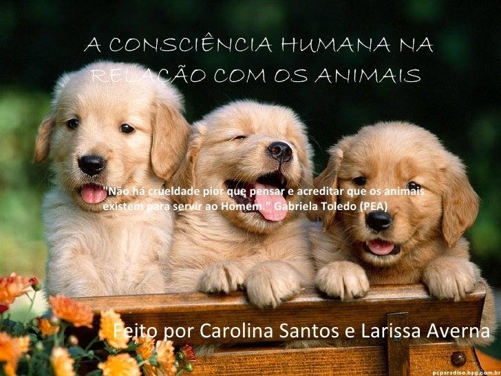 """A CONSCIÊNCIA HUMANA NARELAÇÃO COM OS ANIMAIS             """"Não há crueldade pior que pensar e acreditar que os animais ex..."""