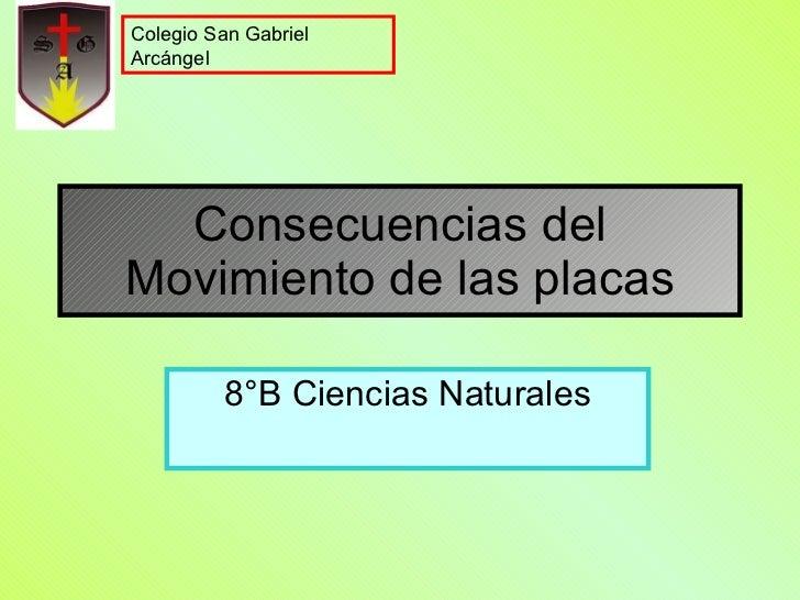 Consecuencias del Movimiento de las placas 8°B Ciencias Naturales Colegio San Gabriel Arcángel