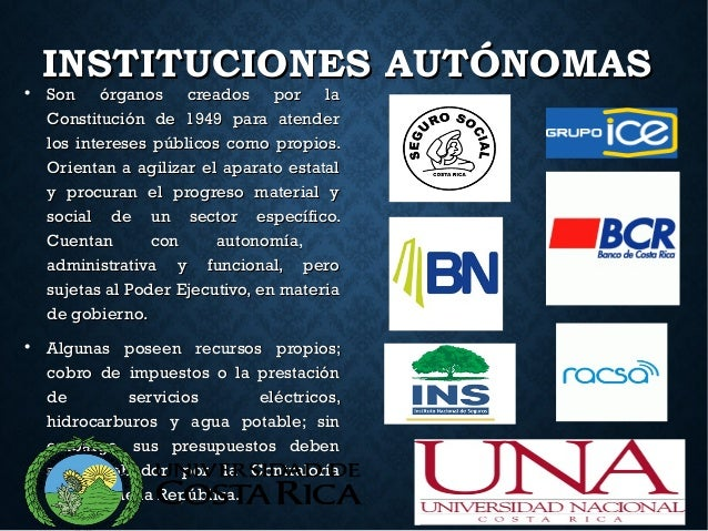INSTITUCIONES AUTÓNOMASINSTITUCIONES AUTÓNOMAS Son órganos creados por laSon órganos creados por la Constitución de 1949 ...