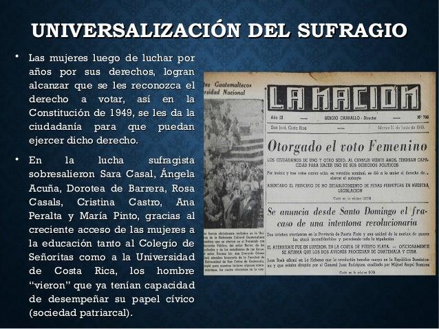UNIVERSALIZACIÓN DEL SUFRAGIOUNIVERSALIZACIÓN DEL SUFRAGIO  Las mujeres luego de luchar porLas mujeres luego de luchar po...