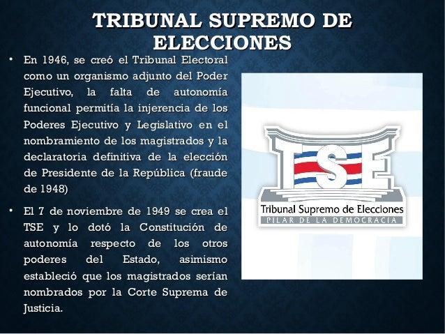 TRIBUNAL SUPREMO DETRIBUNAL SUPREMO DE ELECCIONESELECCIONES  En 1946, se creó el Tribunal ElectoralEn 1946, se creó el Tr...