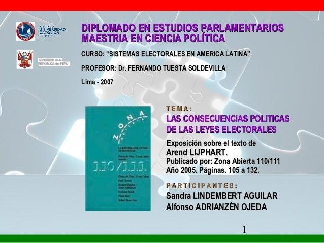 """DIPLOMADO EN ESTUDIOS PARLAMENTARIOSMAESTRIA EN CIENCIA POLÍTICACURSO: """"SISTEMAS ELECTORALES EN AMERICA LATINA""""PROFESOR: D..."""