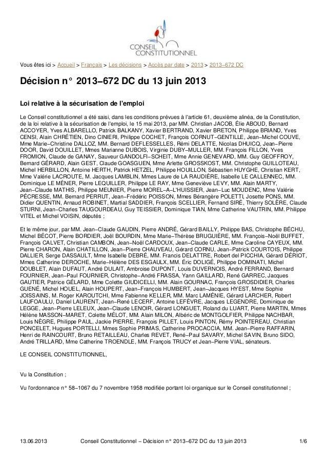 Vous êtes ici > Accueil > Français > Les décisions > Accès par date > 2013 > 2013−672 DCDécision n° 2013−672 DC du 13 juin...