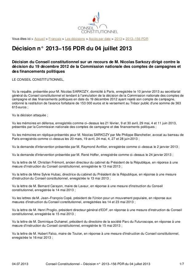 Vous êtes ici > Accueil > Français > Les décisions > Accès par date > 2013 > 2013−156 PDR Décision n° 2013−156 PDR du 04 j...