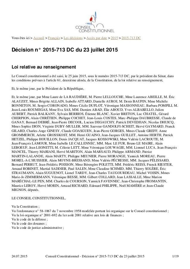 Vous êtes ici > Accueil > Français > Les décisions > Accès par date > 2015 > 2015-713 DC Décision n° 2015-713 DC du 23 jui...