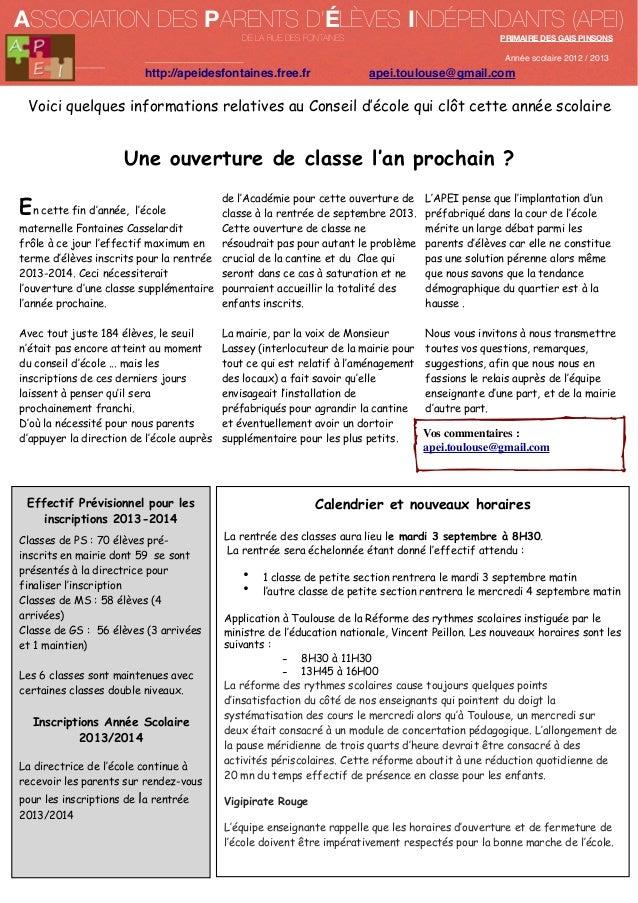 ASSOCIATION DES PARENTS D'ÉLÈVES INDÉPENDANTS (APEI) DE LA RUE DES FONTAINES  PRIMAIRE DES GAIS PINSONS  Année scolaire 20...