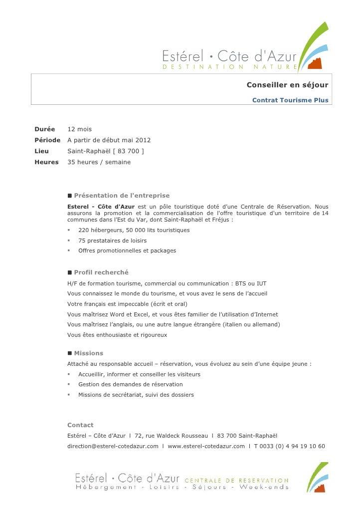 Conseiller en séjour                                                                               Contrat Tourisme PlusDu...