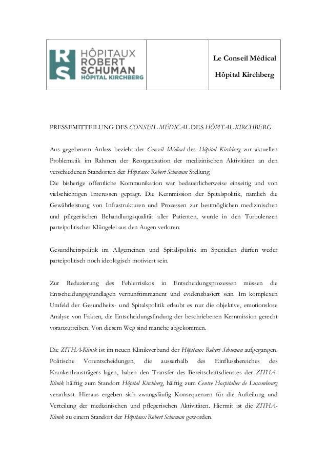 Le Conseil Médical Hôpital Kirchberg PRESSEMITTEILUNG DES CONSEIL MÉDICAL DES HÔPITAL KIRCHBERG Aus gegebenem Anlass bezie...