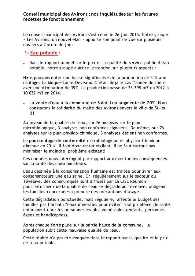 Conseil municipal des Avirons : nos inquiétudes sur les futures recettes de fonctionnement Le conseil municipal des Aviron...