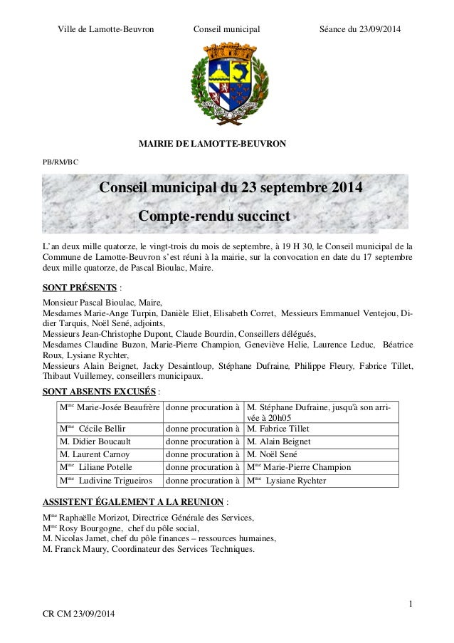 Ville de Lamotte-Beuvron Conseil municipal Séance du 23/09/2014  MAIRIE DE LAMOTTE-BEUVRON  PB/RM/BC  PB/RM/BC  Conseil mu...