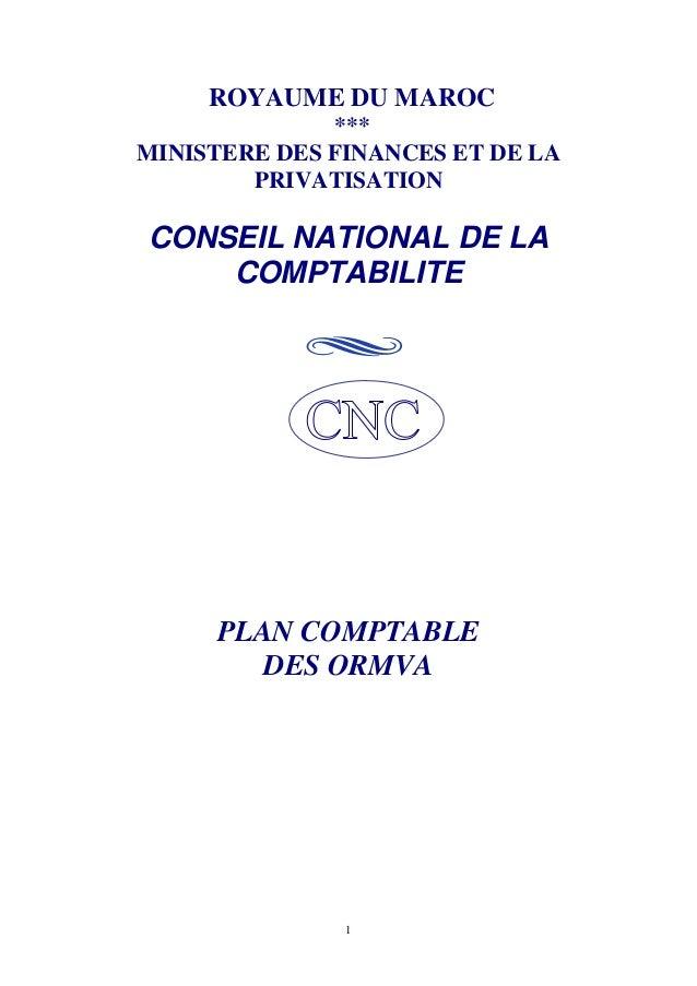 1 ROYAUME DU MAROC *** MINISTERE DES FINANCES ET DE LA PRIVATISATION CONSEIL NATIONAL DE LA COMPTABILITE PLAN COMPTABLE DE...
