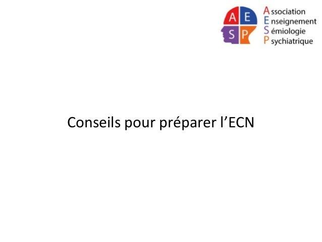 Conseils pour préparer l'ECN
