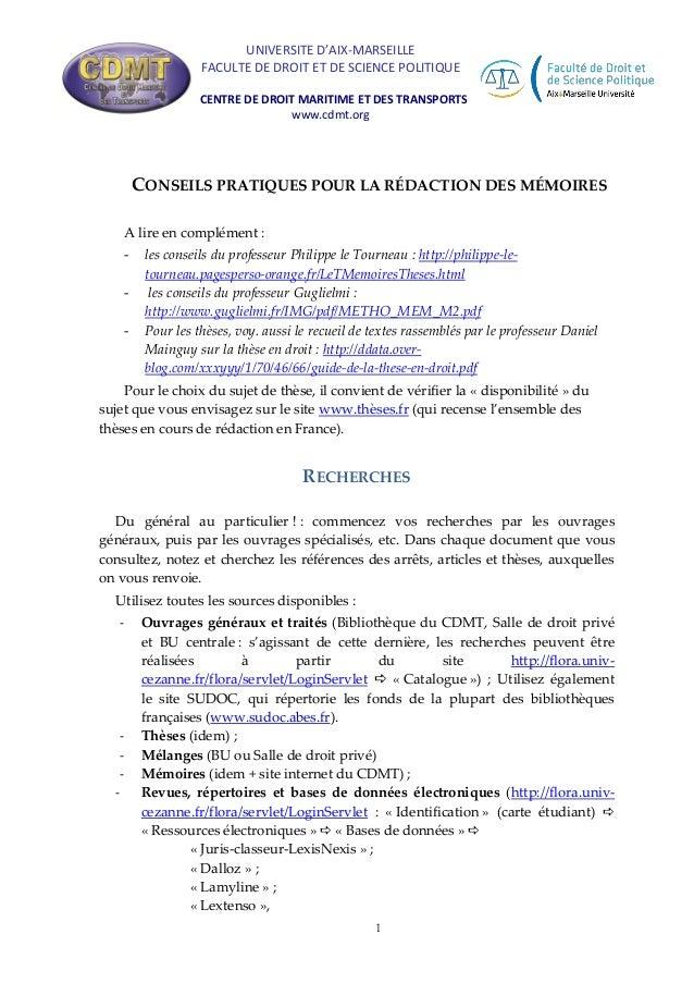 UNIVERSITE D'AIX-MARSEILLE FACULTE DE DROIT ET DE SCIENCE POLITIQUE CENTRE DE DROIT MARITIME ET DES TRANSPORTS www.cdmt.or...