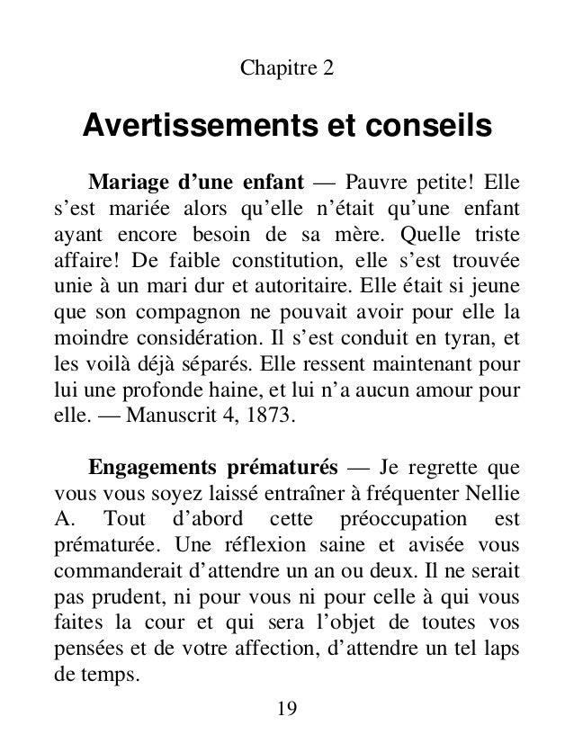 Chapitre 2 Avertissements et conseils Mariage d'une enfant — Pauvre petite! Elle s'est mariée alors qu'elle n'était qu'une...