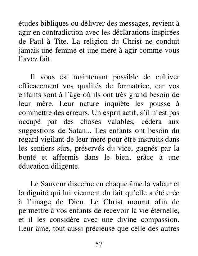 études bibliques ou délivrer des messages, revient à agir en contradiction avec les déclarations inspirées de Paul à Tite....