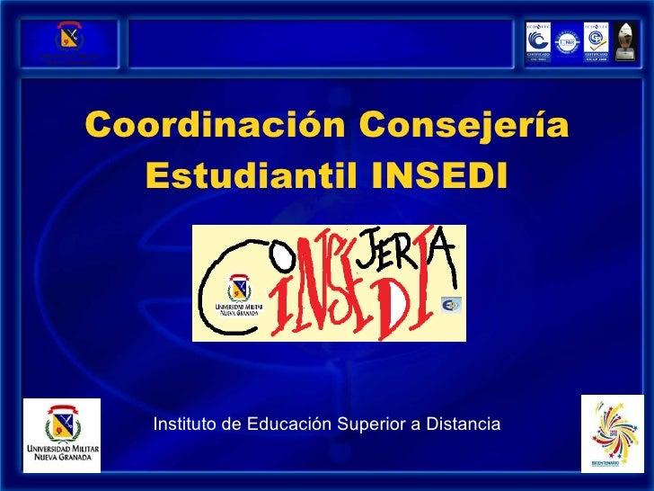 Coordinación Consejería Estudiantil INSEDI Instituto de Educación Superior a Distancia