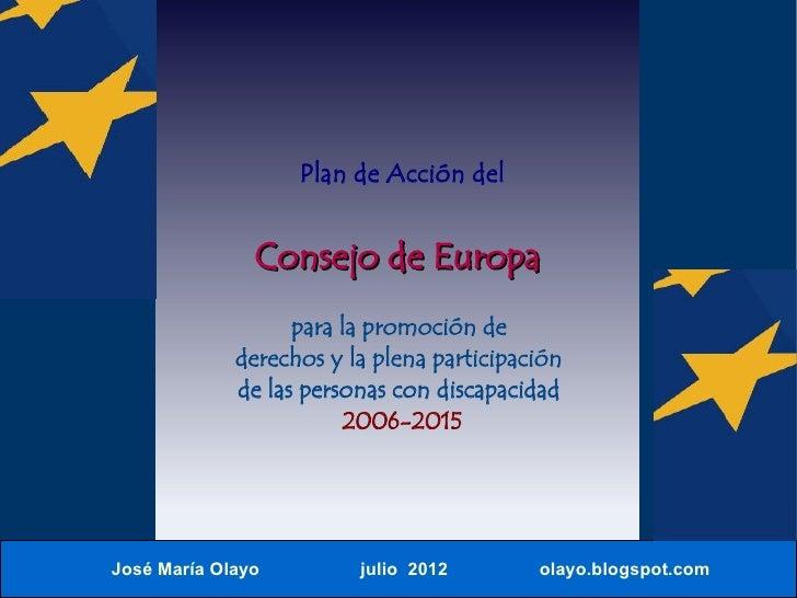 Plan de Acción del               Consejo de Europa                   para la promoción de             derechos y la plena ...