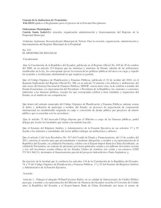 Consejo de la Judicatura de Transición:016-2011Expídese el Reglamento para el ejercicio de la Potestad DisciplinariaOrdena...